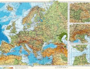 физическая карта европы на русском языке