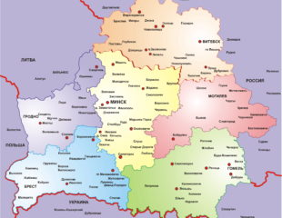 карта беларуси с областями