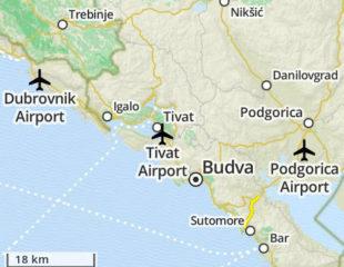карта черногории с аэропортами