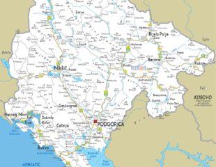 карта городов черногории