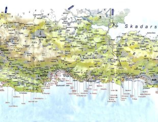 побережье черногории на карте