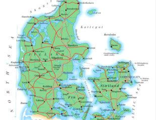 карта дании с дорогами