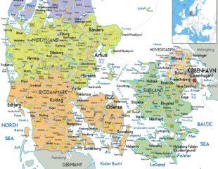 карта дании с городами
