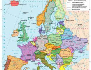 карта европы с городами на русском