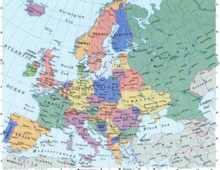 карта стран и городов европы