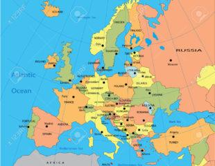 карта со столицами стран европы