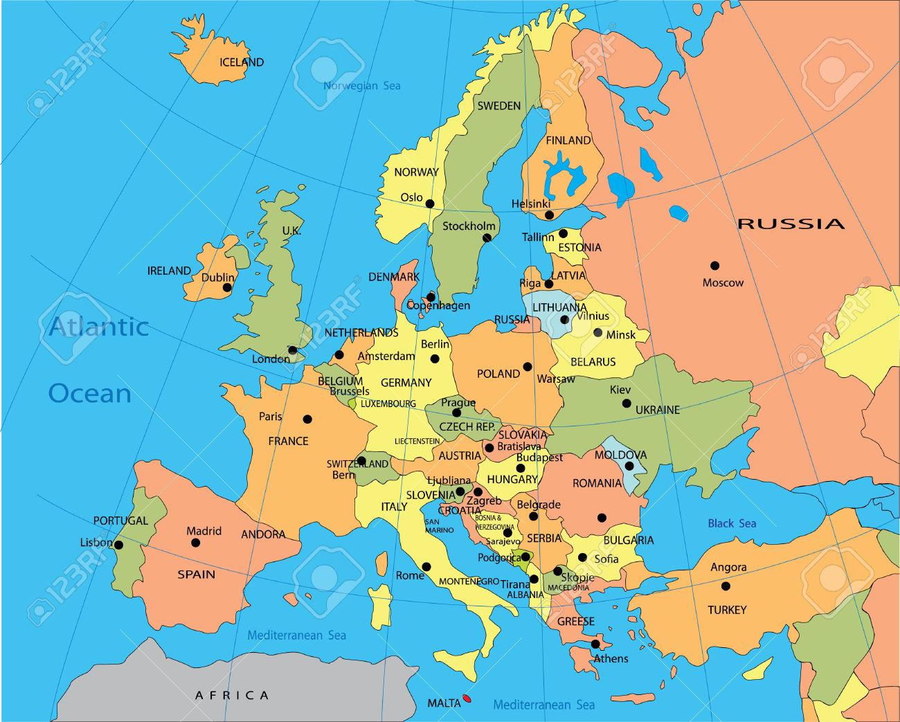 Karta Evropy So Stranami I Stolicami