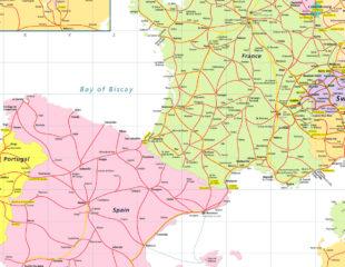 карта франции с испанией