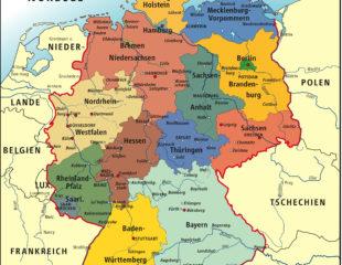 карта земель германии на немецком