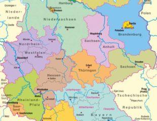 карта земель германии со столицами