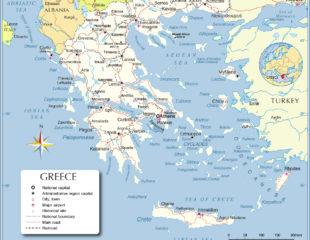 карта греции географическая