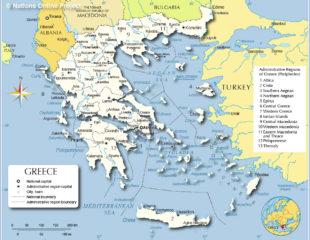 карта греции с городами