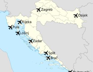 аэропорты хорватии на карте