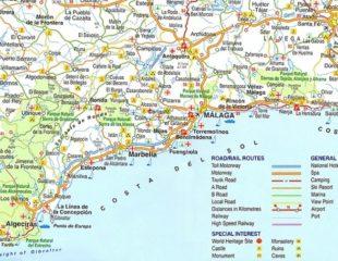 побережье испании на карте