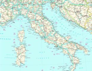 карта италии с дорогами