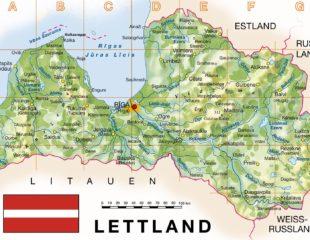 карта латвии физическая