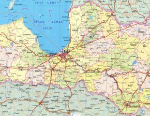 карта латвии подробная