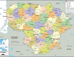 карта литвы с городами