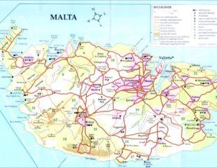 карта мальты с дорогами