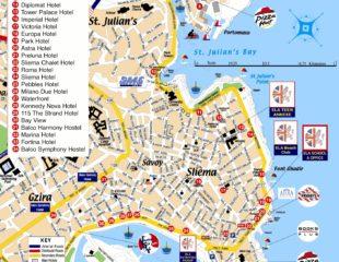 карта мальты с курортами