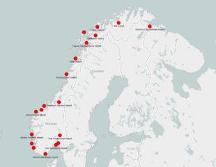 карта аэропортов норвегии