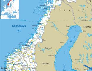 карта дорог норвегии