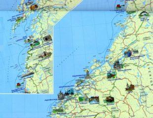 карта норвегии с достопримечательностями