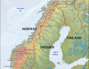 карта норвегии физическая