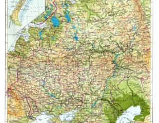 европейская часть россии на карте