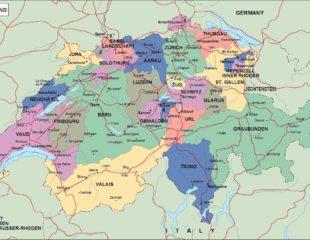карта швейцарии политическая