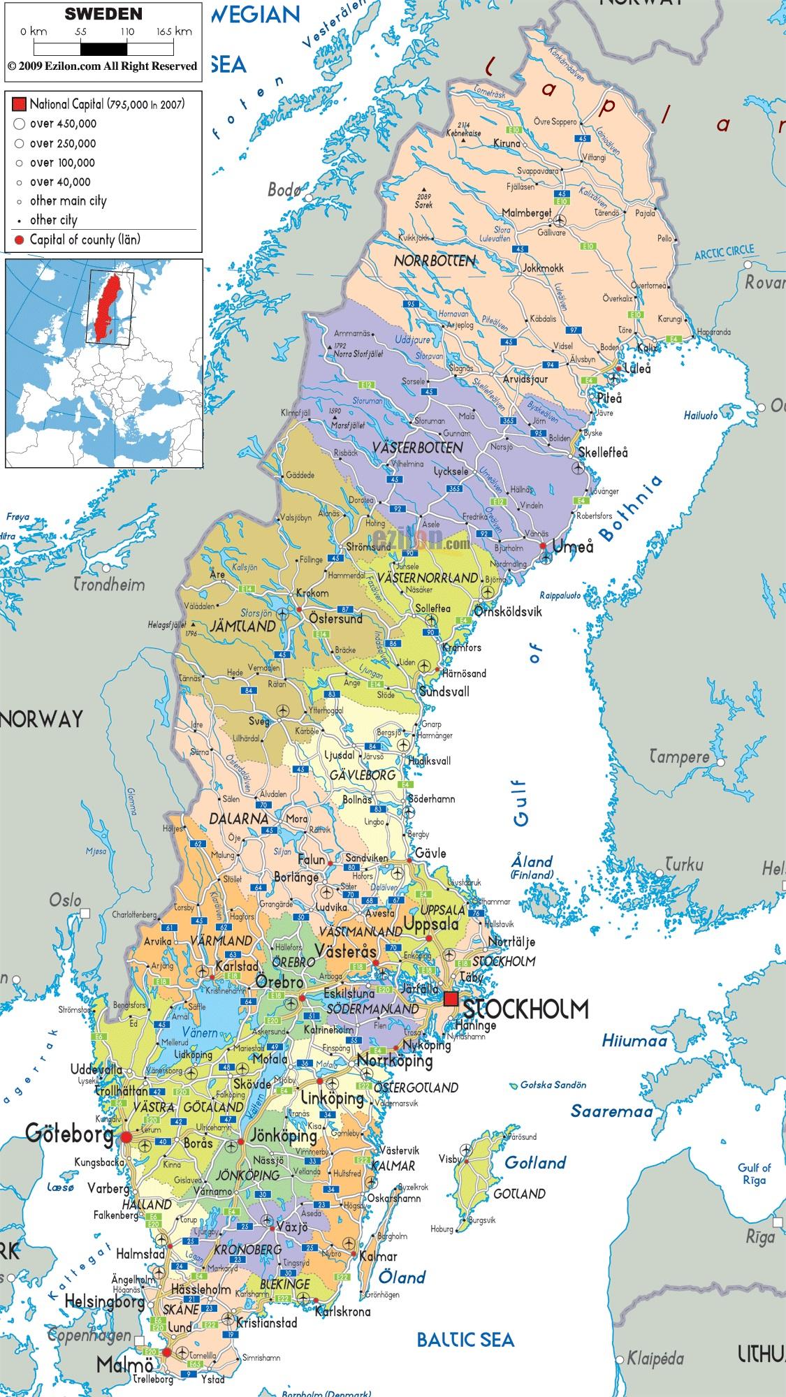 Podrobnaya Karta Shvecii S Gorodami Na Russkom Yazyke