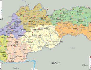карта городов словакии