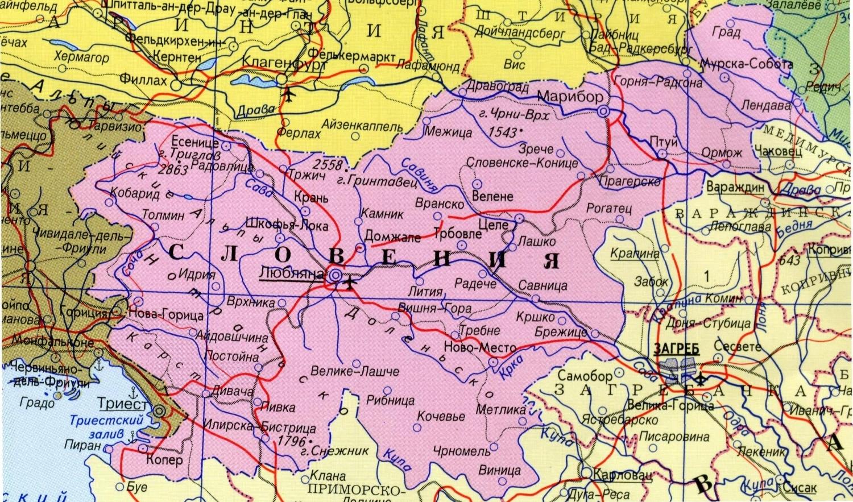 Sloveniya Na Podrobnoj Karte Evropy I Mira