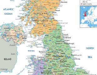 карта великобритании на английском