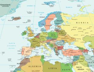 карта столиц европы