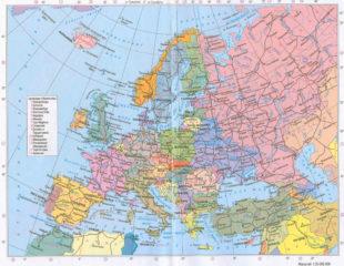 политическая карта европы на русском языке